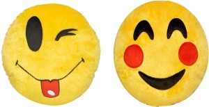 Dream Deals Lovely Cheecks & Toung out smiley cushion-(Set of 2)  - 20 cm