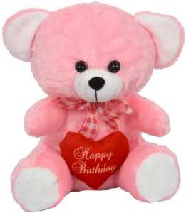 FunnyLand Teddy Bear Pink With Heart 30cm Caption Happy Birthday  - 30 cm
