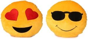 Fabelhaft Cool Dude & Heart Eyes Smiley Cushion (Pack of 2)-35 Cm  - 4 cm