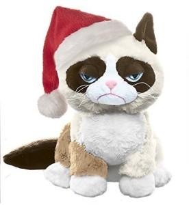 Ganz Grumpy Cat Sitting with Santa Hat  - 20 inch