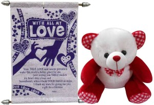 Advance Hotline Valentine Gift For Girls Or Wife - Soft Teddy & Love Scroll Card  - 26 cm