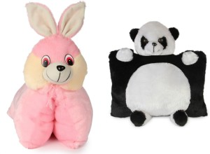 Deals India Deals India Folding Bunny Pillow(40 cm) and Panda Pillow( 40 cm) set of 2  - 40 cm