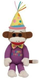 TY Beanie Babies Happy Birthday Sock Monkey Plush