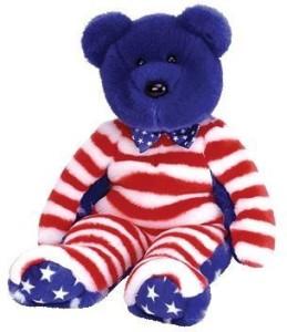 TY Beanie Babies 1 X LiberThe Bear (Blue Head Version)