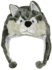 DDHQ Cute Animal Hat Plush Husky Timber Wolf Animal Winter Hat