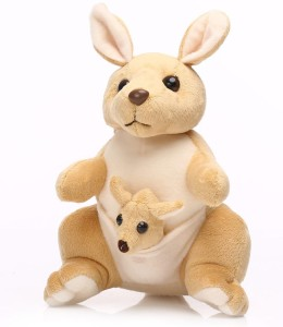 MGPLifestyle MGP Creation Kangaroo with baby in Pouch soft toy- Creamish Brown(40Cm)  - 32 cm