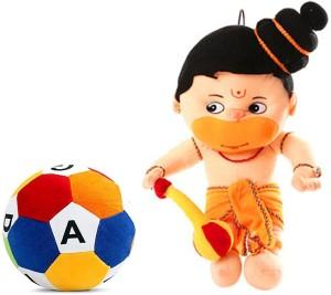 Cally Soft Toys Hanuman Ji with ABCD Ball  - 40 cm