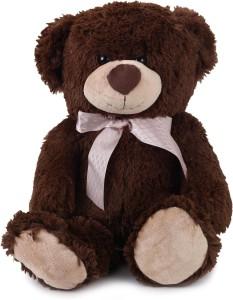 Starwalk Teddy Bear Plush Dark Brown Color with Pink Bow  - 15.5 inch