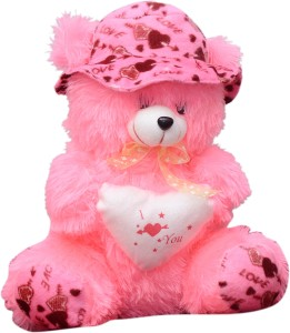 SS Mart Pink Teddy Bear with Cap  - 40 cm