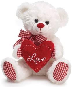 Burton & Burton Valentine Bear White Plush Gingham