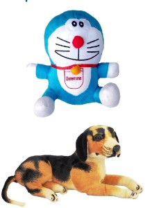 VRV Multicolour Doraemon and Dog Stuff Toy  - 15 cm