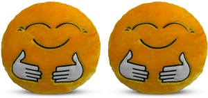 Deals India Deals India Yellow Hugging Smiley Cushion - 35 cm(smileyE&E) set of 2  - 35 cm