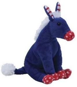TY Beanie Babies 20 LefPatriotic Blue Donkey