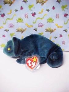 TY Beanie Babies Rainbow (Blue Tiedye) Chameleon