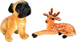 Alexus Deer And Pug Dog  - 32 cm