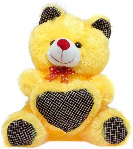 Fashion Knockout Yellow Teddy Printed Heart  - 35 cm