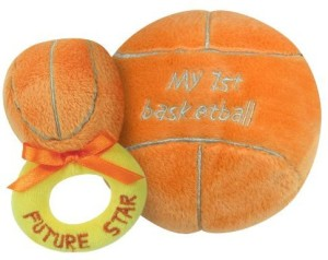 Stephan Baby Sports Fun Ultra Soft Plush My First Basketball and Plush Rattle Ring Set  - 15 inch