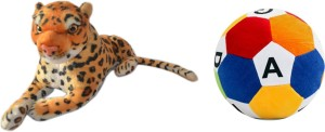 MGPLifestyle Combo of Leopard Soft Toy & ABCD Ball  - 10 cm