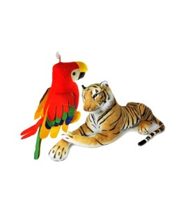 Deals India tiger(32 cm) and Musical parrot (30 cm)combo  - 5 cm