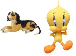 MGPLifestyle Combo of Sitting Dog Soft Toy & Tweety  - 10 cm