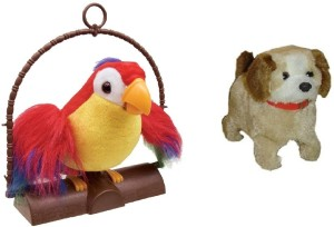 SHOP24HOME Talking Parrot with Jumping Puppy Toys Best Combo  - 17 cm