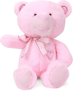 Starwalk Baby Pink Bear Plush With Side Ribbon & Embroidery Heart  - 30 cm