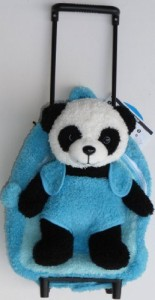 2 in 1 Plush Wheeled Backpack Rolling Plush Blue Backpack Panda Bear Removable Toy & Wheels New  - 25 inch