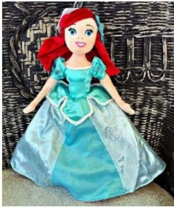Disney Ariel Aurora Reversible Plush Doll New