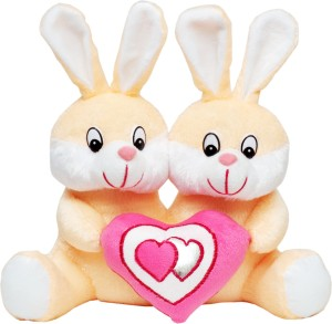 Tabby Toys Cute Bunny Couple With Heart  - 30 cm
