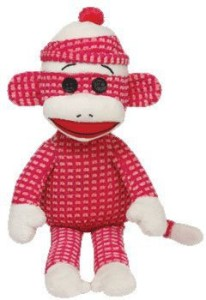 Ty Beanie Babies Sock Monkey Plushpink Quilted  - 20 inch