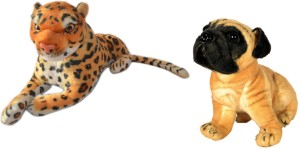 MGPLifestyle Combo of Leopard & Pug Dog Soft Toy (32cm)  - 9 cm