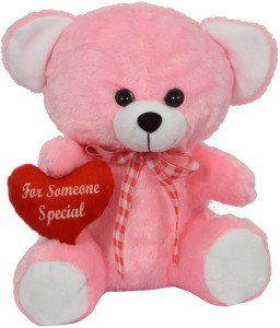 FunnyLand Teddy Bear Pink With Heart 30cm Caption For Someone Special  - 30 cm