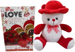 Advance Hotline Valentine Gift For Girls Or Wife - Soft Teddy & Love Greeting Card  - 36 cm