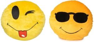 Fabelhaft Cool Dude & Toungout smiley cushion (Set of 2)- 35 Cm  - 4 cm