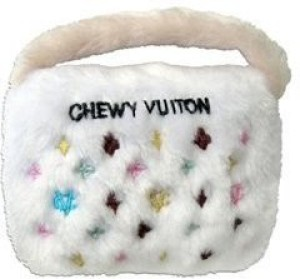 Haute Diggity Dog Chewy Vuiton Plush Novelty Purse Dog Small White