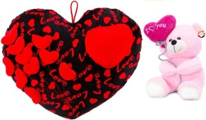 MGPLifestyle - Premium Combo of Black & Red Heart Cuishion with I love you Ballon Heart Teddy- Pink (22cm)  - 18 cm