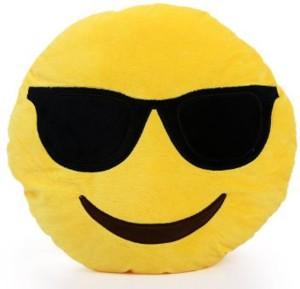Royalifestyle Smarty Smiley Plush Cushion with Sunglasses  - 12 inch