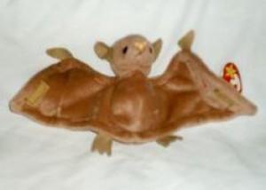 Ty Bat The Bat (Brown W/Pink Nose) Beanie Babies