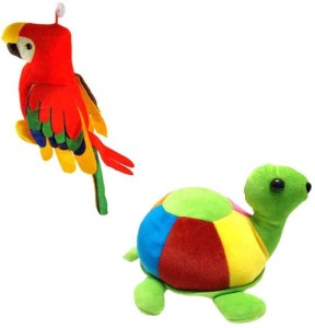 MGPLifestyle Musical Cute Parrot and Tortoise Combo  - 9 cm