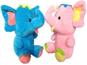 bda3608a90 Cuddles Cute Looking Baby Elephants Combo 20 cm Blue Pink Best Price ...