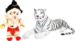 Alexus White Tiger And Bal Ganesh  - 32 cm