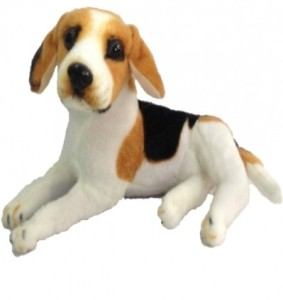 Chinmayi Cute White Brown Dog, good companion to your little ones  - 32 cm