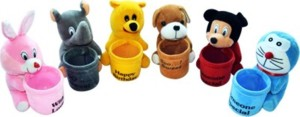 Meeras Pen Stand set of six (6) Bunny, Dog, Doremon, elephant, Pooh and Mickey Mouse (Color might vary)  - 8 inch