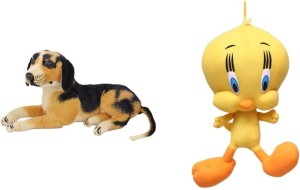 VRV Multicolor Dog and Yellow Tweety Duck Soft Toy - Pack of 2  - 25 cm