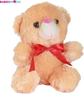 Babies Bloom Orange Cute Plush Stuffed Teddy Bear With Red Knot  - 20 cm