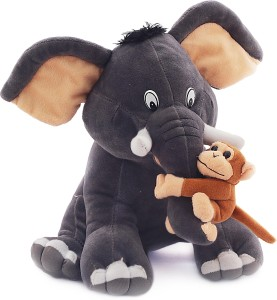 Natkhat Ele With Monkey 30cm  - 30 cm