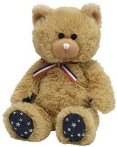Ty Beanie Babies Uncle Sam Bear Tan