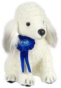 FAO Schwarz 10 Inch Blue Ribbon Plush Poodle White