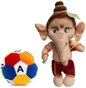 Cally Soft Toys Ganesha with ABCD Ball  - 35 cm