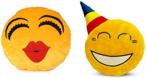 Deals India Deals India Kiss Smiley and Party smiley Cushion - 35 cm(smiley3&B)Set of 2  - 35 cm